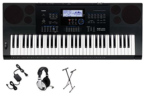 Casio CTK-6200 Premium Pack 61-Key Premium Keyboard Pack with Samson HP30 Closed-Cup Headphones, Power Supply and Stand