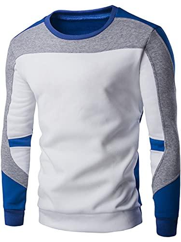 Hombres Sudadera Color Block Chaquetas Rayas Cuello Redondo Jersey Slim Fit Top Blusa acanalada Camiseta