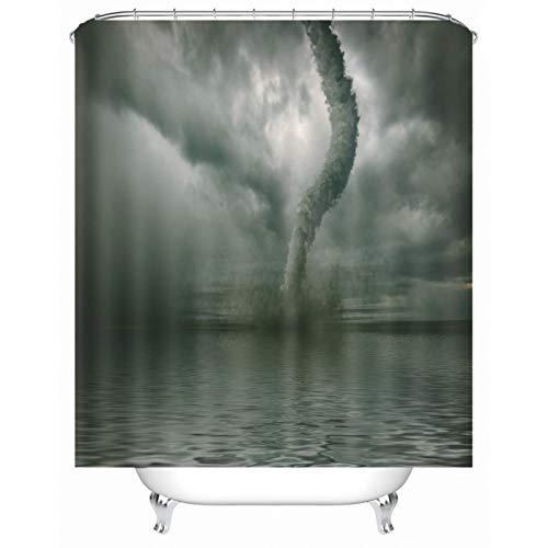 Banemi Gemusterter Duschvorhang, Tornado Pattern Bad Vorhang mit Duschvorhang Ringe, Polyester, 165 x 200 cm, Dunkel Grau