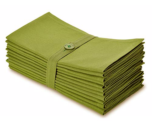 COTTON CRAFT Classic Cotton Set of 12 Pure Cotton Solid Color Dinner Napkins, 20 inch x 20 inch, Moss Green