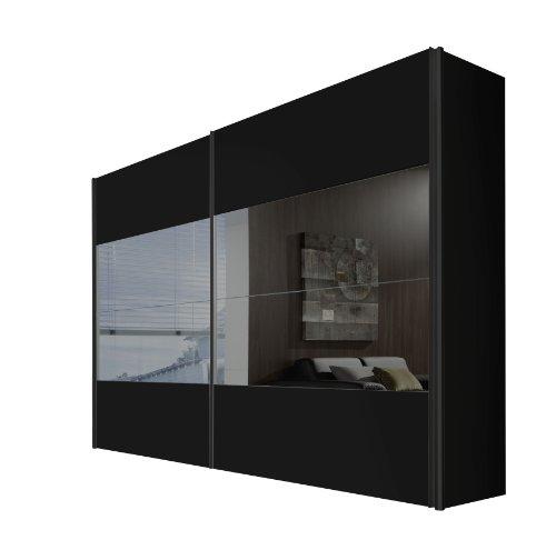 Express Möbel 49451-734 Schwebetürenschrank 300 x 216 x 68 cm / schwarz / grauspiegel