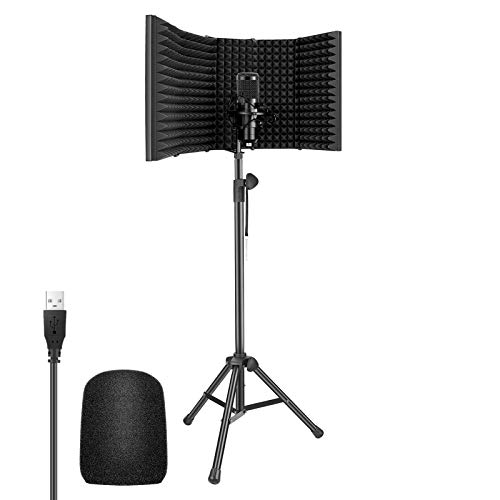 Neewer USB Microphone Kit - 192KHz/24Bit Plug&Play Cardioid Condenser Mic with 5-Panel Microphone Isolation Shield and 65.2 inches Tripod Stand for Livestreaming/YouTube/Gaming Record/Singing, etc