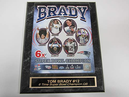 Patriots Tom Brady 6 TIME Super Bowl Champions Engraved Collector Plaque w/8x10 Photo