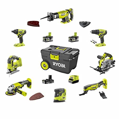 Pack RYOBI Combo 8 outils - 2 batteries 5.0Ah et 1 batterie 2.0Ah - 1 chargeur - R18CK8-3552T