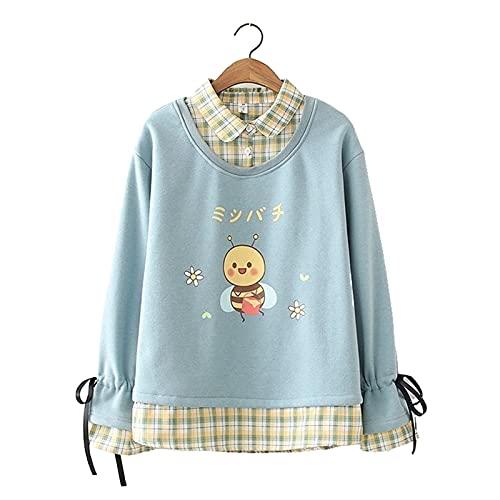 Esdlajks Kawaii Hoodie para Mujer - Suéter de Cachemira de niñas otoño e Invierno Nuevo Encantador Vaca impresión de Manga Larga Arriba (Color : Light Blue, Size : M)