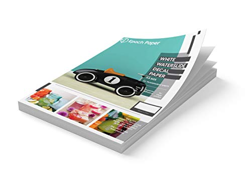 Epoch Paper - White Waterslide Decal Paper for Inkjet Printers - 20 Pages of Size A4 Premium Image Transfer Paper