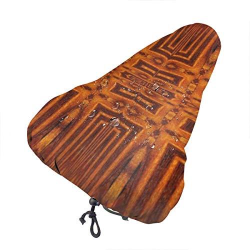 Du-shop Antiker persischer Holzmuster wasserdichter Fahrradsitz-Regenschutz mit Kordelzug, Regen- und staubdicht