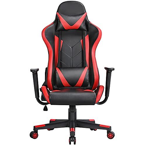 Yaheetech Gaming Stuhl Racing Computerstuhl Ergonomisches Chefsessel Gamer Stuhl mit hoher Rückenlehne höhenverstellbar PC Stuhl, Lendenkissen, Kopfkissen mit Wippfunktion