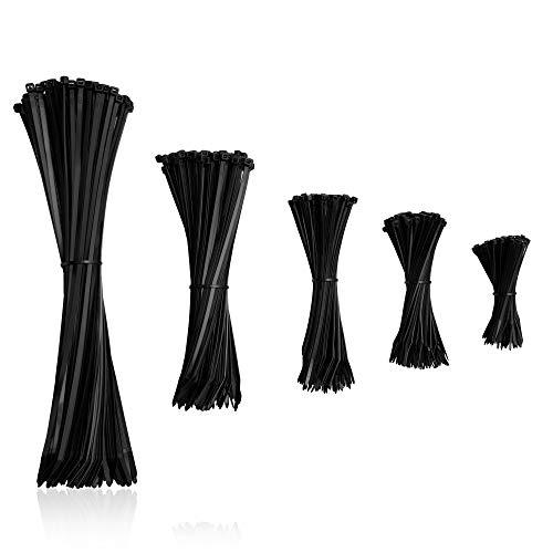HeiKab 500er Kabelbinder Set (Stark) - UV-Beständig - 5 Größen: 140/200 / 250/300 / 370 mm - Schwarz -