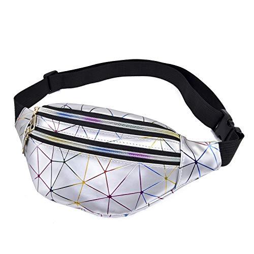 Geagodelia Bauchtasche Gürteltasche für Damen Mädchen Stylische PU Hüfttasche mit Verstellbarer Gurt für Reise Wandern Outdoor Festival FB17991 (Silber)