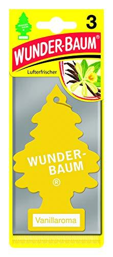 Wunder-Baum 171205 Ambintadores Pino Celulosa Aroma Vainilla para Colgar Coche, Amarillo, Set de 3