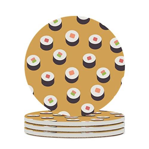Facbalaign Posavasos de cerámica japonesa, para sushi, con base de corcho resistente a los arañazos, de seguridad, resistente al agua, con caricatura para bebidas, color blanco, 4 unidades