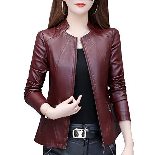 Valin P705 - Chaqueta de piel sintética para mujer, con cremallera y cuello alto