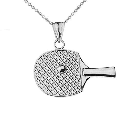 Tischtennis Schläger Sport Anhänger Halskette in Sterling Silber (Kommt mit Einer 45 cm Kette)