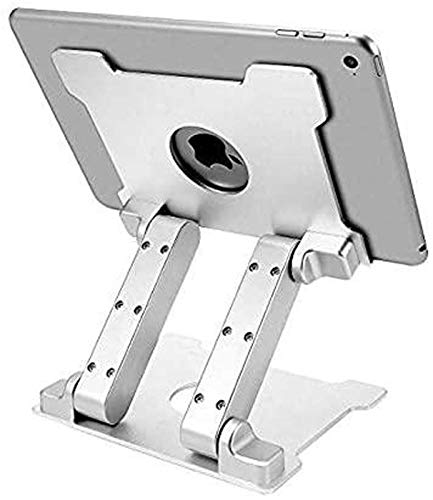 FANG Tablet Stand,Adjustable Foldable Eye-Level Aluminum Solid Up To 13-in Tablets Holder for Microsoft Surface Series Tablets,iPad Series,Samsung Galaxy Tabs,Silver