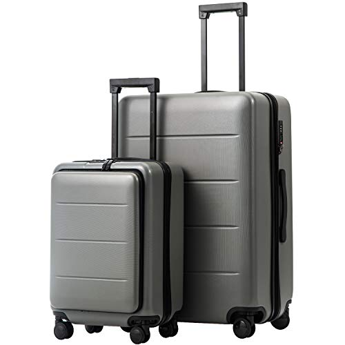 COOLIFE Luggage Suitcase Piece Set Carry On ABS+PC Spinner Trolley with pocket Compartmnet Weekend Bag(Titanium gray, 2-piece Set)