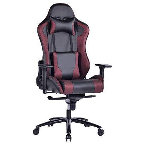 Wolmics großer Memory Foam Gaming Stuhl Verstellbarer Neigungswinkel Rückenwinkel und 3D-Arme Ergonomische hohe Rückenlehne aus Leder Exklusiver Computer-Schreibtisch Bürostuhl mit Metallsockel Wein