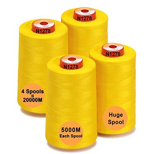 New brothread - 28 Opciones - 4 Bobinas Grandes de 5000M hilo de coser de poliéster todo propósito 40S/2 (Tex27) para coser, acolchar, patchwork, remalladora y overlock - Lemon