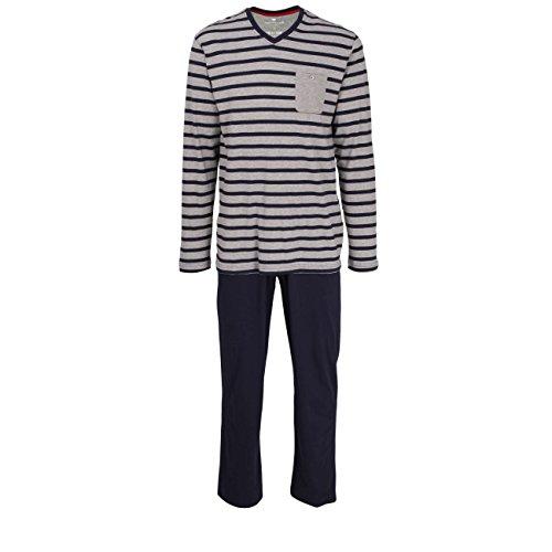 TOM TAILOR Herren Pyjama, Langarm, Baumwolle, Jersey, blau, gestreift 54