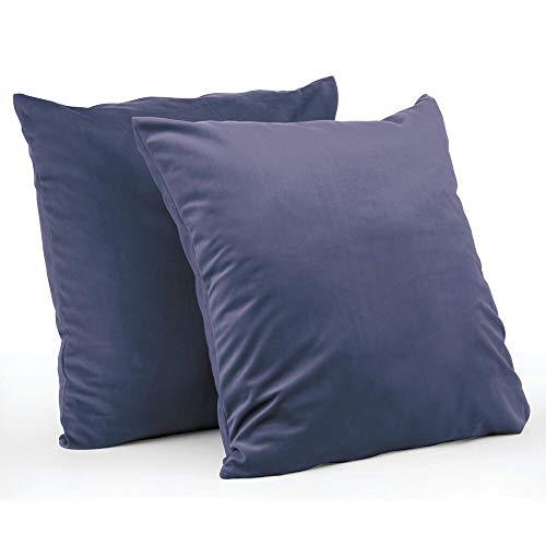 mDesign Juego de 2 fundas de cojín – Forro para cojines hipoalergénico de poliéster con aspecto de terciopelo – Suaves fundas decorativas para cojines de sofá sin relleno – azul oscuro