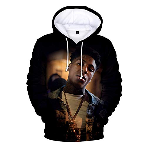 Black Melody YoungBoy Never Broke Again Unisex Hoodie 3D Printed Hooded Pullover Sweatshirt for Men Women Boys Girls M