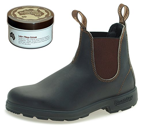 Blundstone Style 500 Classic Chelsea Boots Unisex Stiefelette + 250 ml Lederpflege | Stout Brown | UK 10.5 / EU 45.0