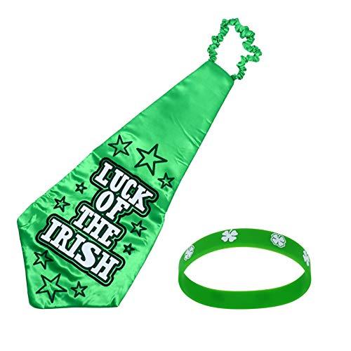 TOYANDONA 1 Juego Mens St. Día de Patricks Corbata Pulsera Trébol Corbata Duende Disfraz Irlandés Sant Paddy Día Accesorios
