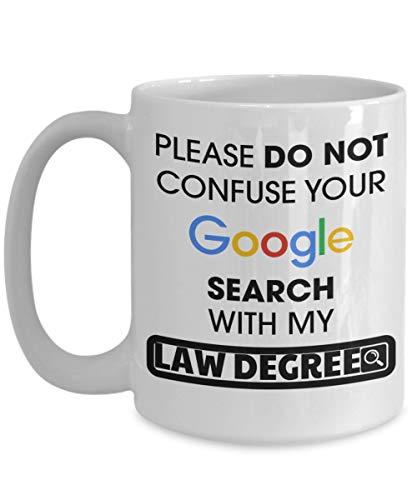 Taza de Abogado - Taza de café de Abogado de 11 oz - Regalos de Abogado para Hombres - Tazas de Abogado - No confunda su búsqueda de Google con mi título de Abogado