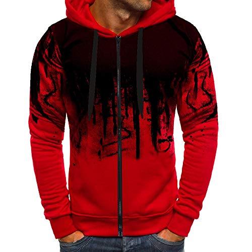 JiaMeng Suéter de Hombre Invierno Manga Larga Suéter Casual Jersey de Punto Caliente Camiseta Blusa básica de Manga Larga con Cuello Redondo (A2~Rojo, XL)