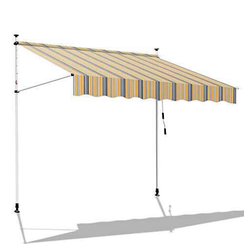 BMOT Klemmmarkise Balkonmarkise Sonnenschutz mit Handkurbel, UV-beständig höhenverstellbar, aus Metall und Polyester, ohne Bohren, 200 x 120 cm, Gelb Blau