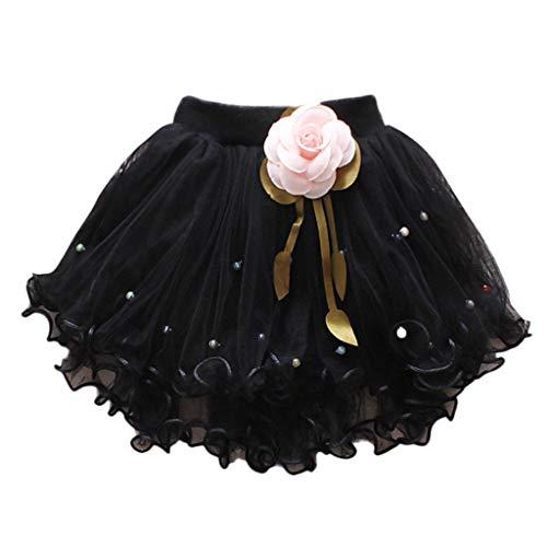 YWLINK MäDchen Zeigen Tanz Party Blume Prinzessin Mesh Karneval Minirock Mit Perlen Elastische Taille Tutu Rock (Schwarz,10)