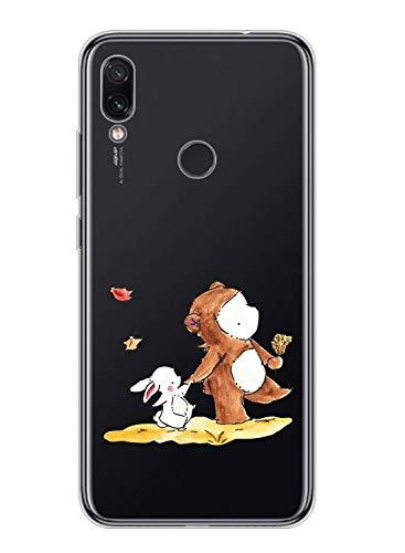 Oihxse Kompatibel mit Motorola Moto G7 Plus Hülle Klar,Transparent TPU Silikon Schutzhülle Crystal Clear Durchsichtige Anti-Schock Anti-Scratch Kratzfest Durchsichtige Dünn Cover-AFFE+Kaninchen