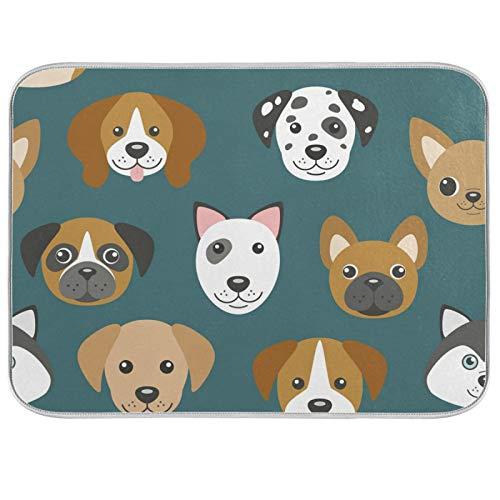 UMIRIKO Tapis d'égouttoir pour comptoir de cuisine Motif famille de chiens 40,6 x 45,7 cm