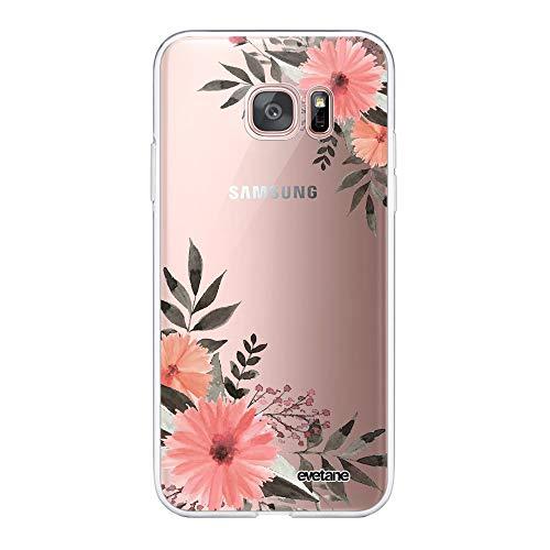 Evetane 84188 - Carcasa para Samsung Galaxy S7 Edge 360 (Parte Delantera Trasera, Resistente, protección sólida, Funda Transparente, diseño de Flores Rosas)