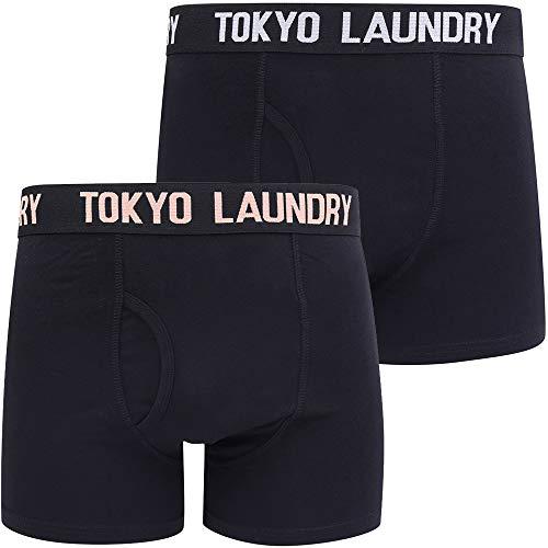 Oceana 2 (2 Pack) Boxer Shorts Set in Peach/Lt Grey Marl – Tokyo Laundry - XL