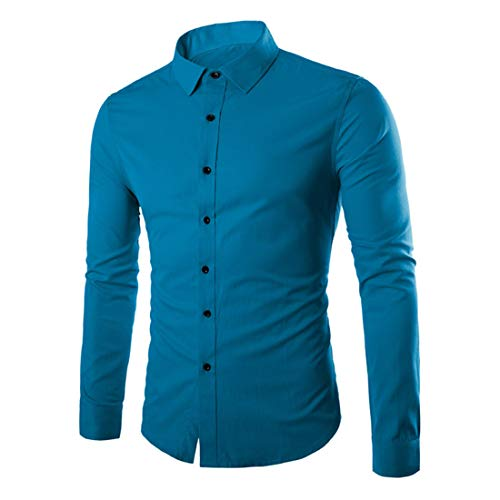 ZCZH Men's Shirts Mens Casual Plain Shirt Fashion Solid Color Dress Shirt Autumn Winter Party Prom Shirt Button Down Lapel Shirts Long Sleeve Classic Shirts Slim Fit Shirts Tops Work Shirt 4XL