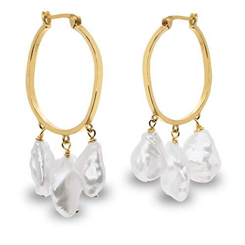 Pendientes Mujer Tres Perlas Cultivadas Agua Dulce
