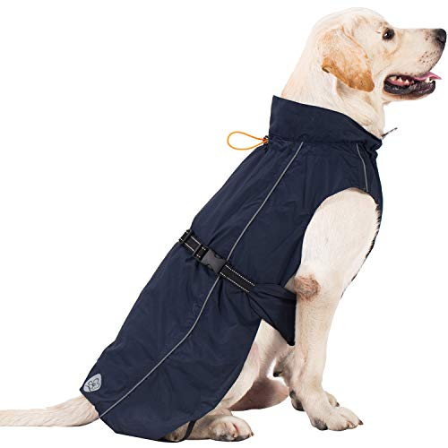 Dog Raincoat Adjustable Lightweight Jacket with Reflective Straps Buckle and Harness Hole Best Gift for Large Medium Small Puppy Dog[ Navy Blue, L]