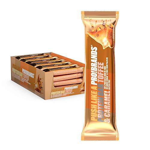 Probrands - Barretta ricoperta di cioccolato ad alto contenuto proteico (38%), con aroma di toffee e caramello - Senza olio di palma, senza zuccheri aggiunti, senza glutine 45gx24 unità