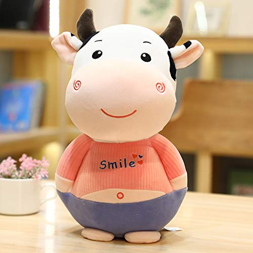 Ankepwj Cool Stuffed Cattle Plush Toys Cute Smile Cow Plush Doll Niños Bebé Dibujos Animados Zodiac 30cm C
