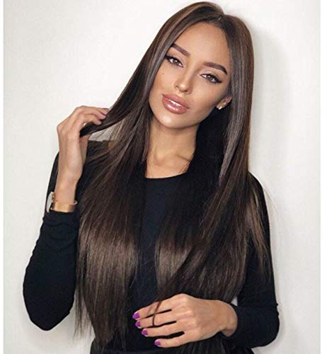 VEBONNY Damen Chocolate Brown Lace Front Synthetic Perücken uk mit Scheitel mit langen seidigen geraden Lace Front Perücke natürlich aussehendes Haar für Frauen Hitzebeständig 24 Zoll VEBONNY-028