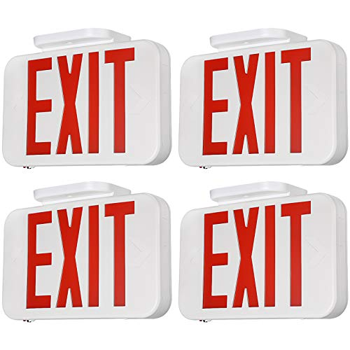 TORCHSTAR LED Emergency EXIT Sign, Double Sided and Battery Backup Emergency Lights, UL 924, AC 120-227V, for Home & Commercial, Pack of 4