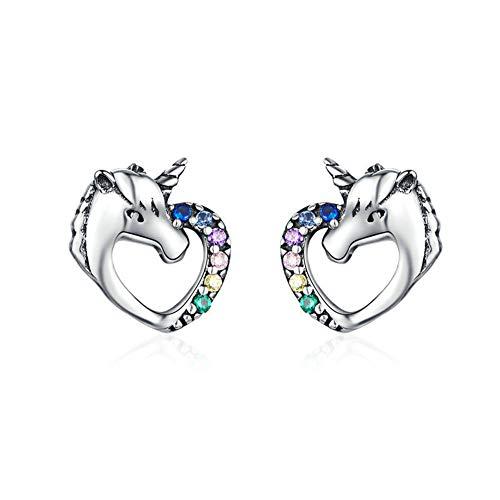 CNNIK Orecchini a forma di cuore unicorno in argento 925 per le donna ragazze, Orecchini a perno piercing anallergici senza nichel con confezione regalo