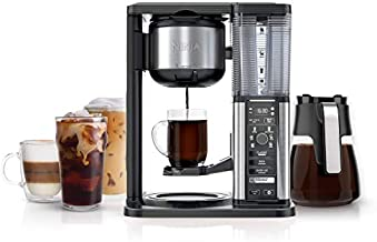 Ninja Specialty Fold-Away Frother (CM401) Coffee Maker, Single Serve to 10 Cup (50 oz.), Glass Carafe (Renewed)