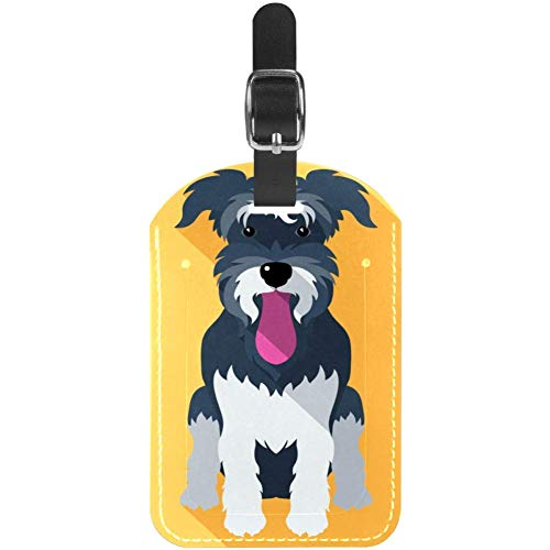 Etiquetas de Equipaje Lengua Adhesiva Cuero de Perro Etiquetas de Maleta de Viaje 1 Paquete