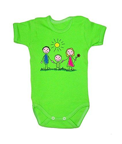 Couleur Mode Dessin Famille Sunny Day bodies à manches courtes 100% coton Petit bébé, 52–24 mois 0015 Green 0-3 months, 62 cm