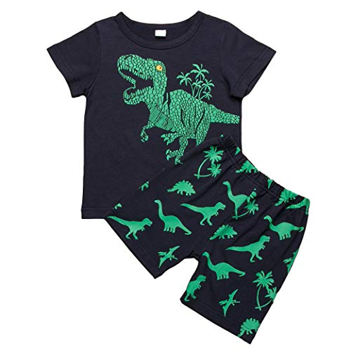 Carolilly Bambino Ragazzi Camicia Cime T-Shirt a Maniche Corte e Pantaloncini Set Coordinato 2 Pezzi Magliette Estive con Stampa Dinosauro + Pantaloncini Bambino Nero
