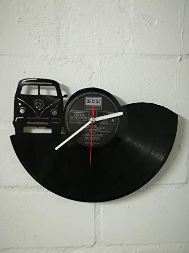 Wanduhr aus Vinyl Schallplattenuhr mit Bus Motiv upcycling design Uhr Wand-deko vintage-Uhr Wand-Dekoration retro-Uhr