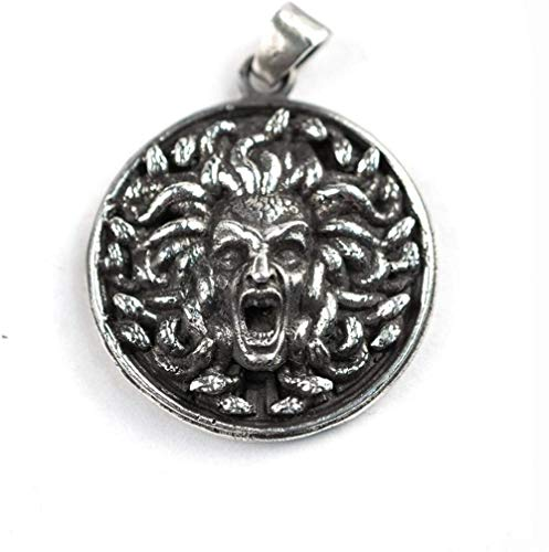 MNMXW Snake Hair Banshee Medusa Stainless Steel Pendant Gothic Punk Gorgon Ancient Greek Myth Jewelry