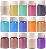 Dewel Pigmentos para Resina Epoxi 15 Botes 10g, Pigmento en polvo de Mica para Teñir Resina Epoxi, Fabricación de jabón,Bombas de Baño, Maquillaje, Uña